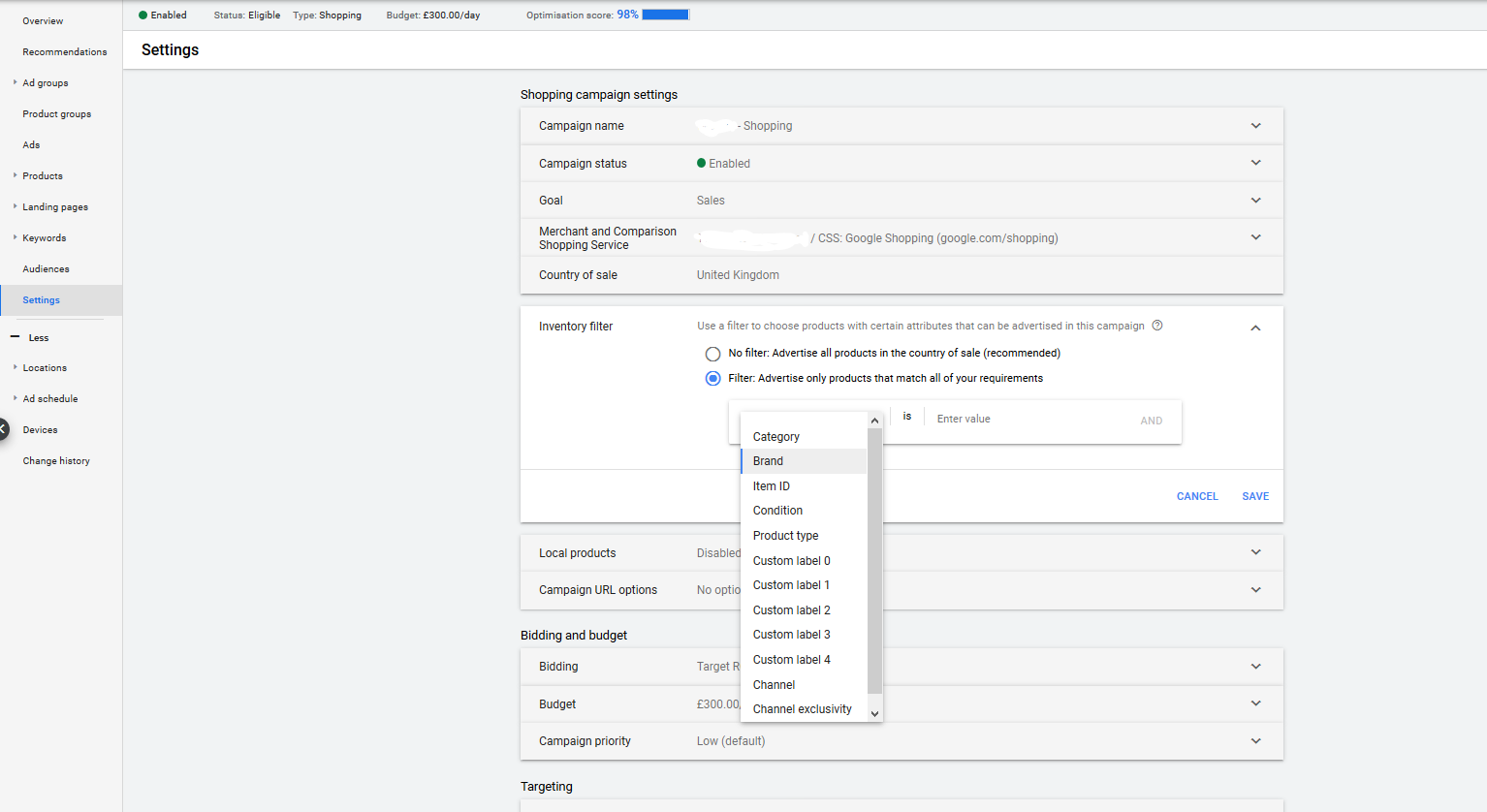 inventory filter in google shopping settings